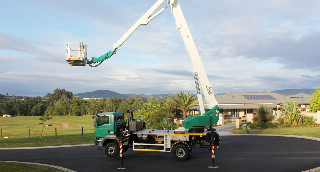 34m bronto elevated work platform hire banner